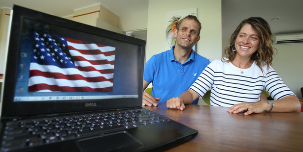 Mount Maunganui residents Jeff and Chelsea Gardner hail from the staunchly Republican state of Utah, but are firmly in the Democrat camp for this year's American election. Photo/John Borren