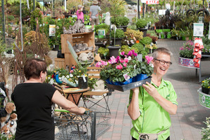Palmers Garden Centre staff member Anna Sargent worked yesterday because garden centres are legally allowed to open on Easter Sunday. PHOTO/BEN FRASER