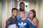 Corrin Philipp with her partner, Waiz Nepia, their son, Christian Nepia, 10 (blue shirt) and nephew, Karlos Sepia,11(grey shirt). Photo / Michael Craig