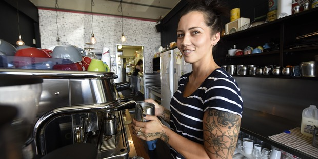 Grindz cafe barista Celaya Tatana making the perfect cup of coffee. Photo/George Novak