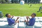 Fijian scholarship students to Te Puke Intermediate Joseph Vueti (left) and Josese Vukataki at All Blacks Sevens training at Blake Park yesterday. Photo / John Borren