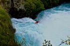 Rotorua's Zack Mutton goes over Huka Falls in Taupo.