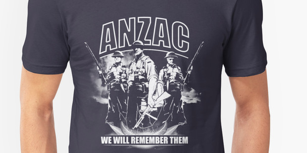 "Australian/American company Redbubble is selling a charcoal T-shirt with ""ANZAC"", an image of three soldiers and ""we will remember them"" online for $29.37."