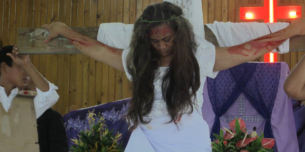 The woman played the part of Jesus in a Sunday School Easter play, during which church members noticed wounds appearing on her body. Photo / TV1 Samoa