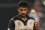 New Zealand's Ish Sodhi prepares to bowl during a their match against Bangladesh. Photo / AP.