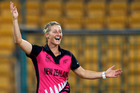 Allrounder Sophie Devine collected a handy 3 for 16 with the ball and followed it with a rapid 27 at the crease to help usher the White Ferns into the semifinals. Photo / AP