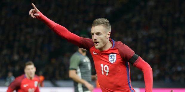 England's Jamie Vardy celebrates after scoring his side's second goal during a friendly soccer match between Germany and England in Berlin. Photo / AP.