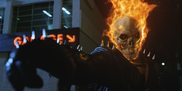 A scene from the movie Ghost Rider starring Nicolas Cage.