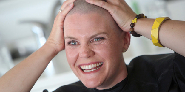 Rotorua mother Philly Angus has her head shaved for the Leukaemia & Blood Cancer New Zealand's Shave for a Cure campaign. Photo / Rotorua Daily Post