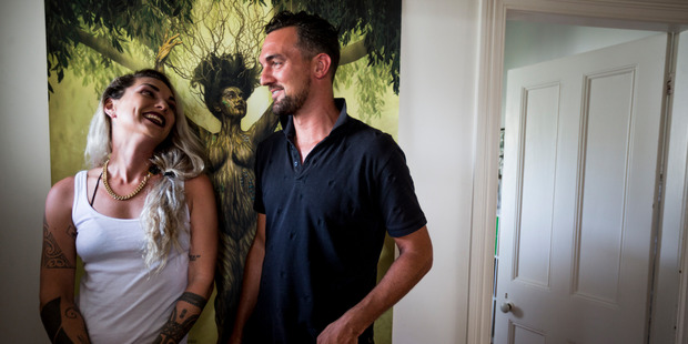 An artwork of Chris's wife and Hollie's friend Helena McAlpine who died of breast cancer. Photo / Dean Purcell