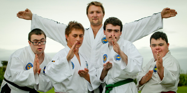 Hawke's Bay International Taekwon-Do Federation Ben Evans with his students.