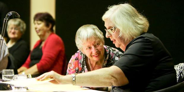 Marion Fell, adjudicator assistant Napier, and Judy Bellingham, adjudicator Dunedin, had a difficult job to do. Photo / Warren Buckland