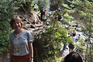 Anna Jackson on the waterfall walk to the Waitonga Falls.