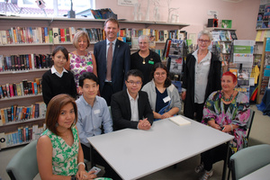 A delegation of international student agents and their hosts in Solway College library. The guests visited four Wairarapa secondary schools yesterday as part of a combined marketing campaign.