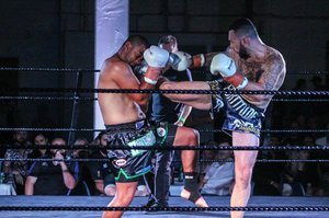 SHIN WIN: Masterton pro boxer and kickboxer Zane Hopman delivers a solid shin kick during a main event bout that ended in a draw in Porirua on Saturday night.
