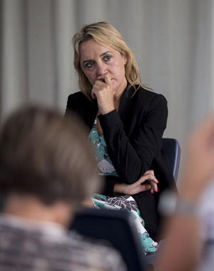 Nikki Kaye, the National Party MP for Auckland Central, holds a meeting at the Ley's Institute in Ponsonby in relation to the reform of rules for city apartments.