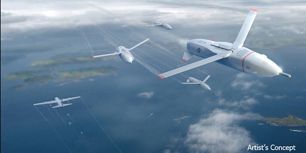 """An artist's rendering shows how unmanned aerial drones known as """"Gremlin"""" could assist the US military. Photo / DARPA"""
