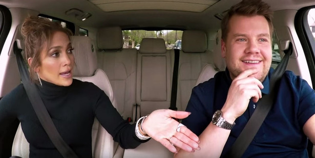J-Lo jumps in the passengers seat for Carpool Karaoke with James Corden.