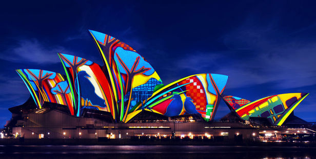 An artists' impression of the light display that will be projected on the Sydney Opera House for this year's Vivid festival. Photo / Supplied