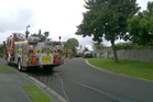 A trailer on fire in Ohauiti. Photo/Sonya Bateson