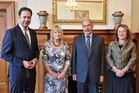 FORTUITOUS: Serjeant Gallery senior curator Greg Anderson, mayor Annette Main and trust chairwoman Nicola Williams met Sir Jerry Mateparae at Government House to talk about the fundraising for the Sarjeant project this month.PHOTO/FILE