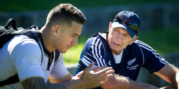 All Blacks Sevens coach Sir Gordon Tietjens chats to Sonny Bill Williams after a training session at Blake Park yesterday. Photo / Andrew Warner