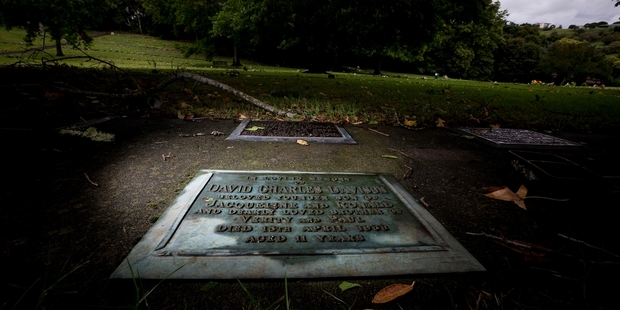 The grave of David Charles Davison who died in 1966 aged 11 located in the Purewa Cemetery. Photo / Dean Purcell