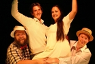 Some of the cast of The Fantasticks musical at Waipukurau Little Theatre, from left, David Berry, Hugh Marsh, Keshia Fletcher and Edward Carleton-Holmes.