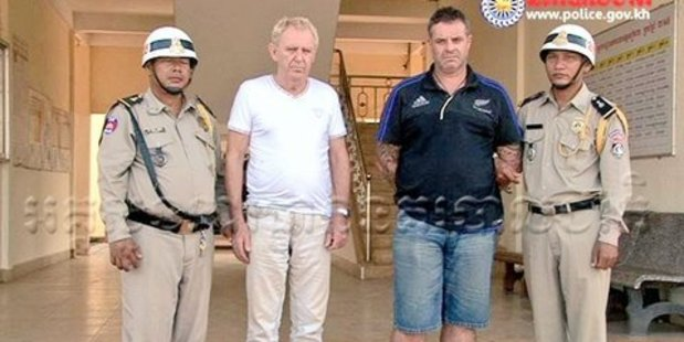 James Eglitis from Australia (L) and Brett Hastie from New Zealand were arrested by Cambodian Police in Siem Reap. Photo / Cambodia Police