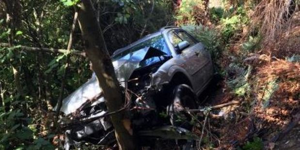 The woman had driven off the road and fell 10 to 15 metres down a bank on Waikowhai St in Ngaio, Wellington. Photo / NZ Police