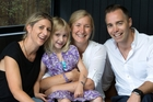 Suze Natusch, holding Jasmine, restarted the little girl's heart. Parents Nerolie (left) and Simon Curran want to raise CPR awareness. Picture / Brett Phibbs