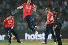 England's Ben Stokes celebrates after running out Sri Lanka's Lahiru Thirimanne. Photo / AP