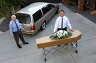 Richard and Tony Hope say cardboard coffin liners provide a practical solution without compromising dignity.