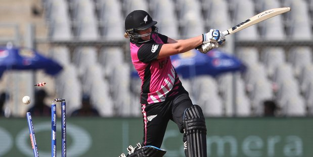 New Zealand's Rachel Priest is bowled during her side's defeat to West Indies. Photo / AP