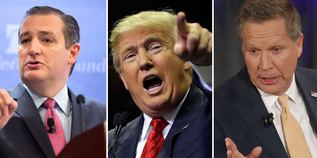 Ted Cruz, Donald Trump, and John Kasich all declined to renew their pledge. Photo / AP