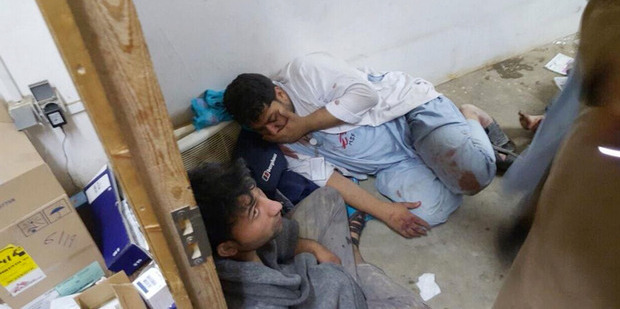 Injured doctors after the Kunduz bombing. Photo / AP