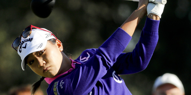 Lydia Ko watches her tee shot on the second hole during the first round of the LPGA Tour ANA Inspiration. photo / AP
