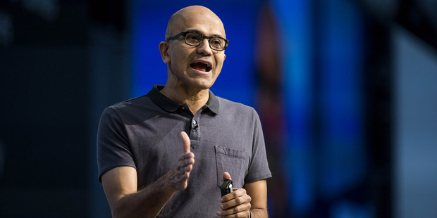 Microsoft CEO Satya Nadella speaks during the March 30 keynote session at the Microsoft Developers Build Conference in San Francisco. Photo / Bloomberg photo by David Paul Morris
