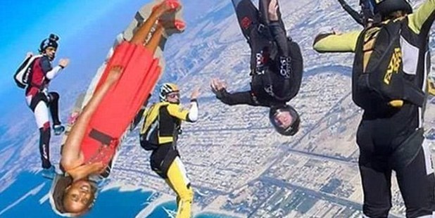 Seve photoshopped sky diving. Photo / Facebook