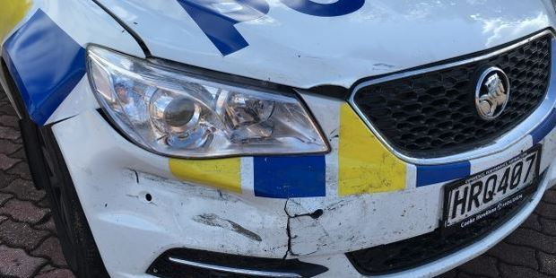 The police car that was damaged in the incident. Photo Craig Baxter/ODT