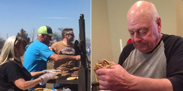 Left, Kenneth Harmon cooks up a storm for his fans. Right, the photo that made the internet cry. Photo / Meredith Keller