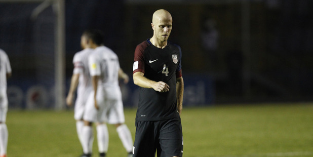 United States' Michael Bradley leaves the field after his side lost their first match to Guatemala. photo / AP