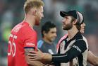 England's Ben Stokes, left, shakes hands with New Zealand's Kane Williamson. Photo / AP