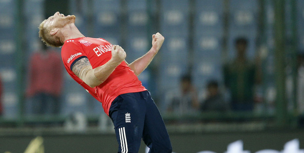England's Ben Stokes celebrates after they defeated Sri Lanka by 10 runs. Photo / AP