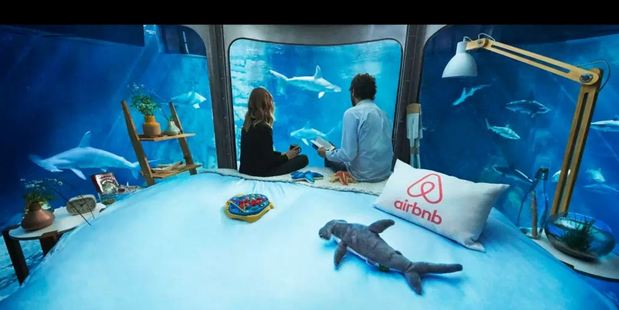 It's best not to watch Jaws before staying at the world's first underwater rental. Photo / Airbnb