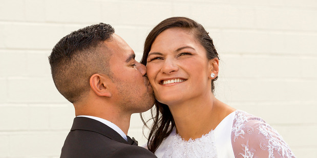 Valerie and Gabriel, both 31, who have been family friends since childhood through their parents and church, were married in a small Mormon ceremony in Hamilton yesterday. Photo / Woman's Day