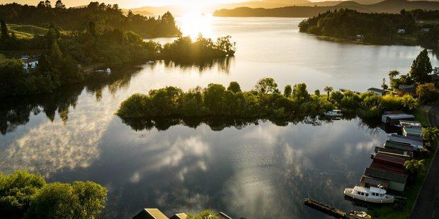 Peaceful start to day at Te Karaka Bay, Lake Rotoiti. Drone photograph by Stephen Parker.
