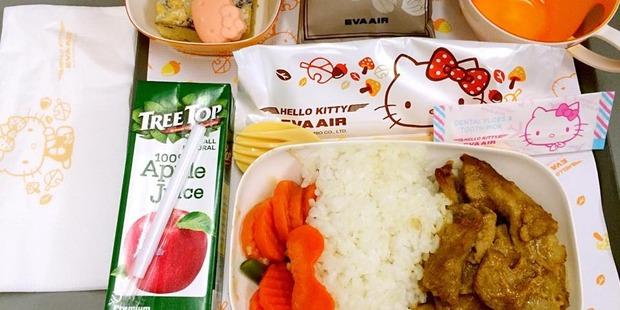 A Hello Kitty meal on EVA Air. Photo / Facebook, EVA Air