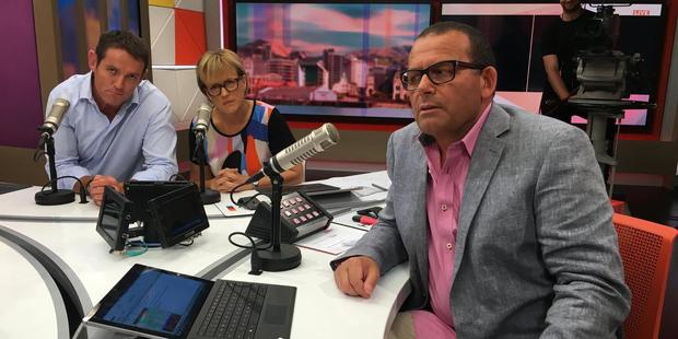 Jim Kayes, Hilary Barry and Paul Henry on the set of TV3's Paul Henry show.