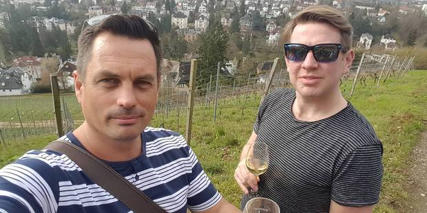 Winston Aldworth and Andrew Potter sample the wine in Wiesbaden. Photo / Winston Aldworth